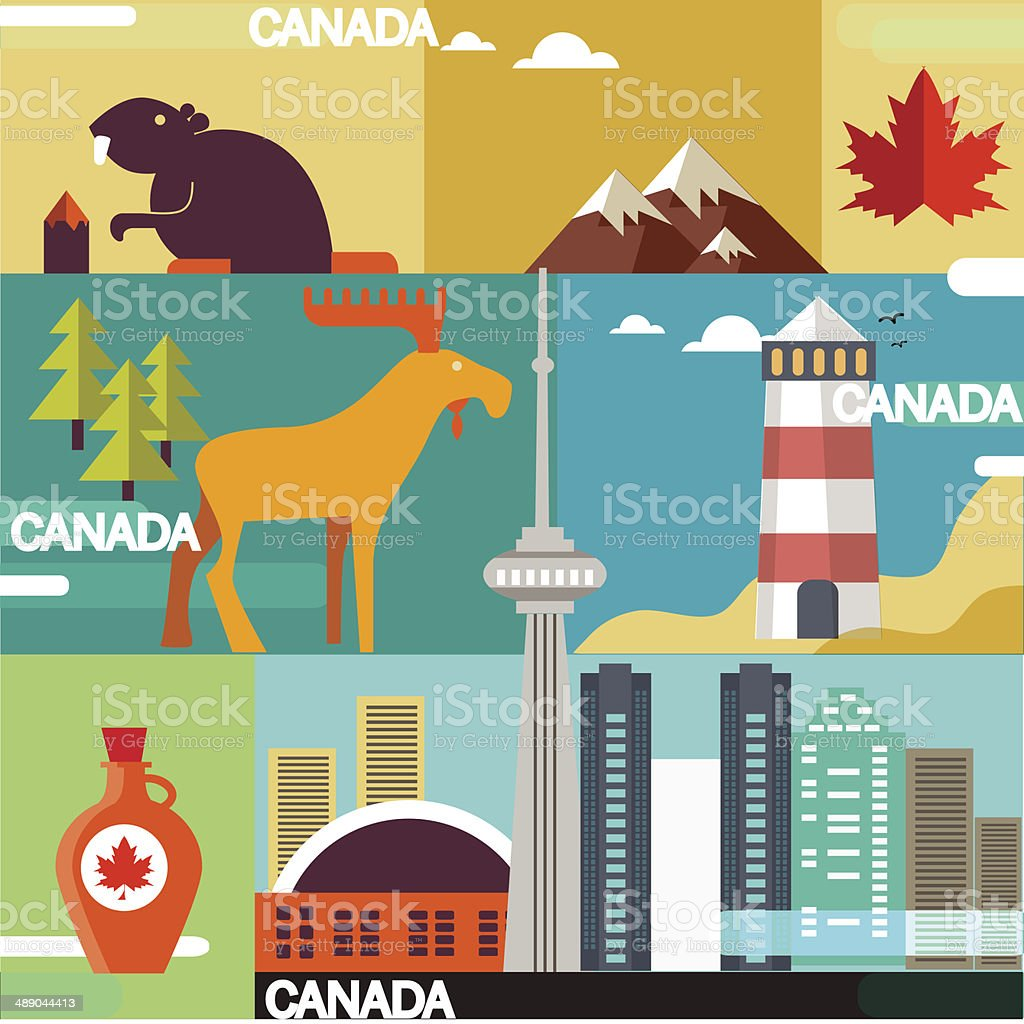 Vector set of various stylized canada icons vector art illustration