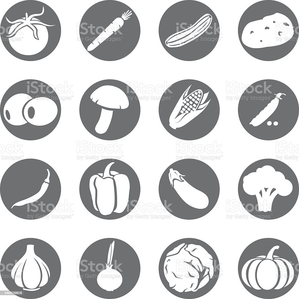 Vector Set of Vegetables Icons vector art illustration