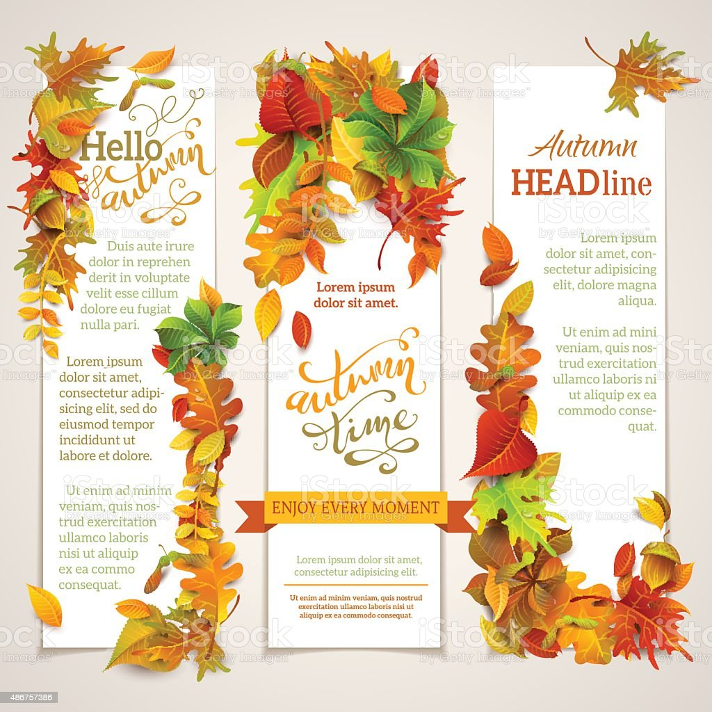 Vector set of vertical autumn banners. vector art illustration