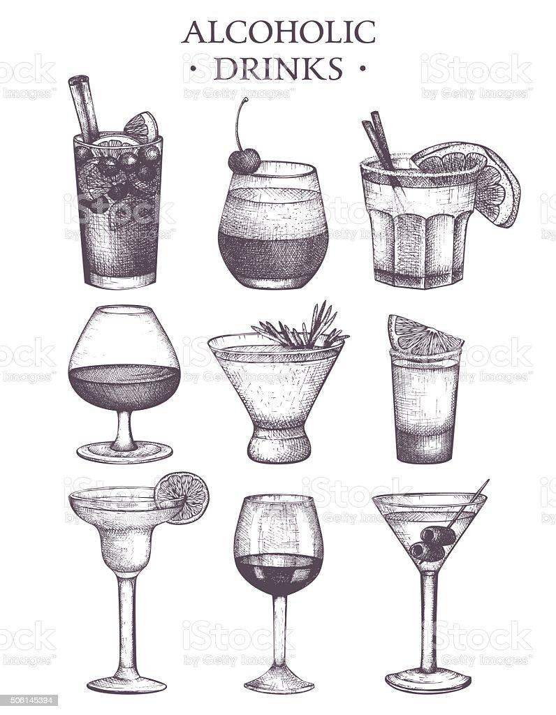 Vector set of vintage alcoholic drinks sketch. vector art illustration