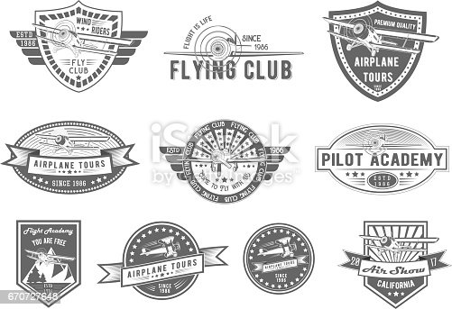 Vector Set Of Vintage Aviation For Logo Templates Icons