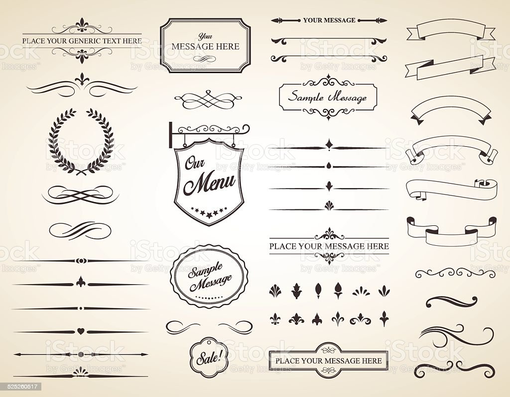 Vector Set of Vintage Calligraphic Elements vector art illustration