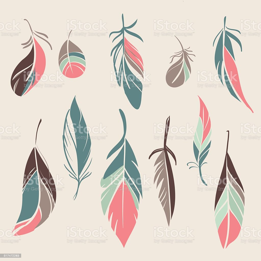 Vector set of vintage feathers vector art illustration