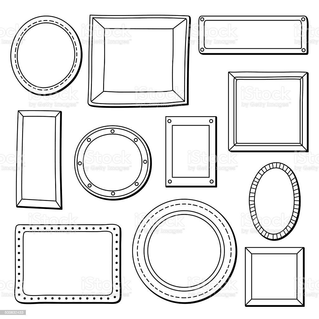 Vector set of vintage frames vector art illustration