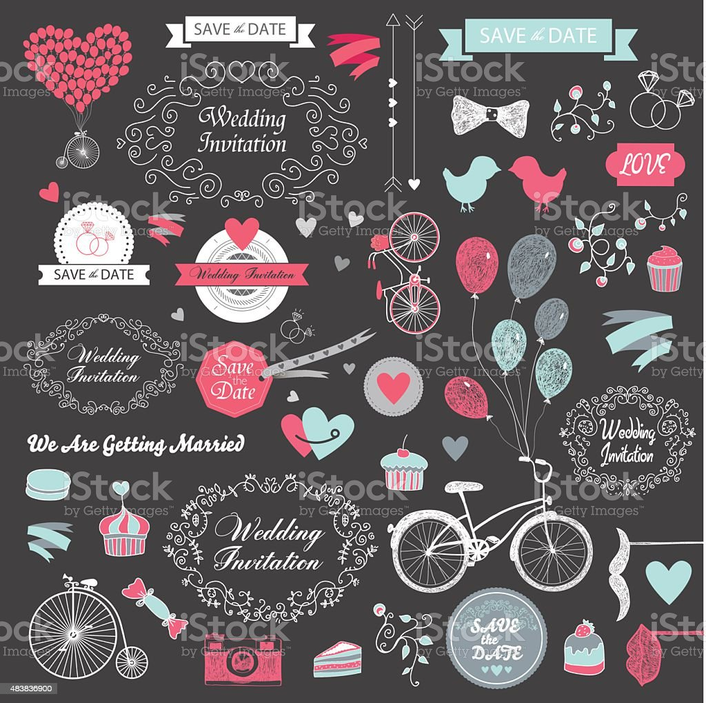 vector set of vintage hand drawn wedding design elements, ribbons vector art illustration