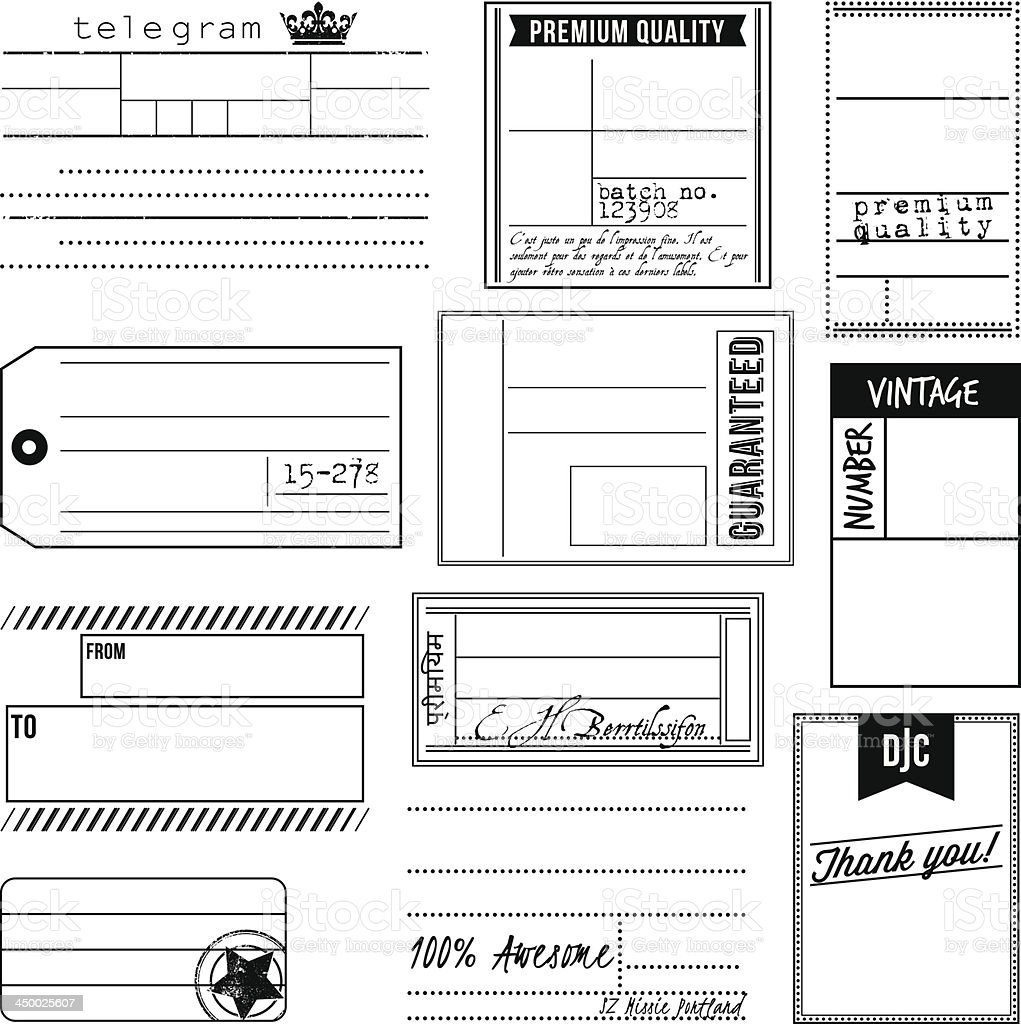 Vector Set of Vintage Inspired Labels and Tags vector art illustration