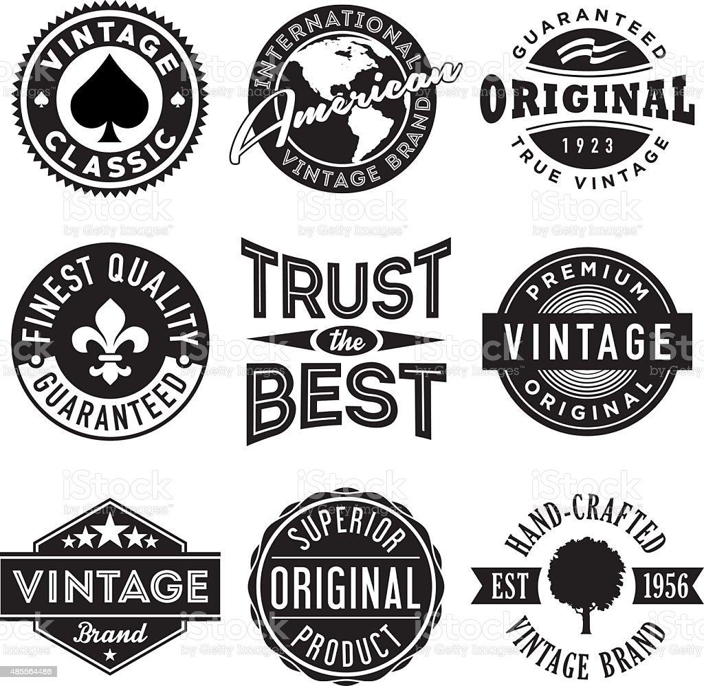 Vector Set of Vintage Labels vector art illustration