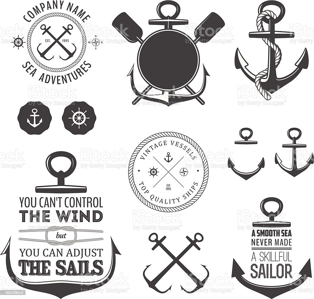 Vector set of vintage nautical icons vector art illustration