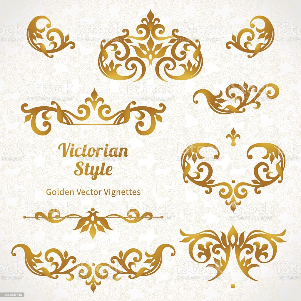 Vector set of vintage ornaments in Victorian style. vector art illustration