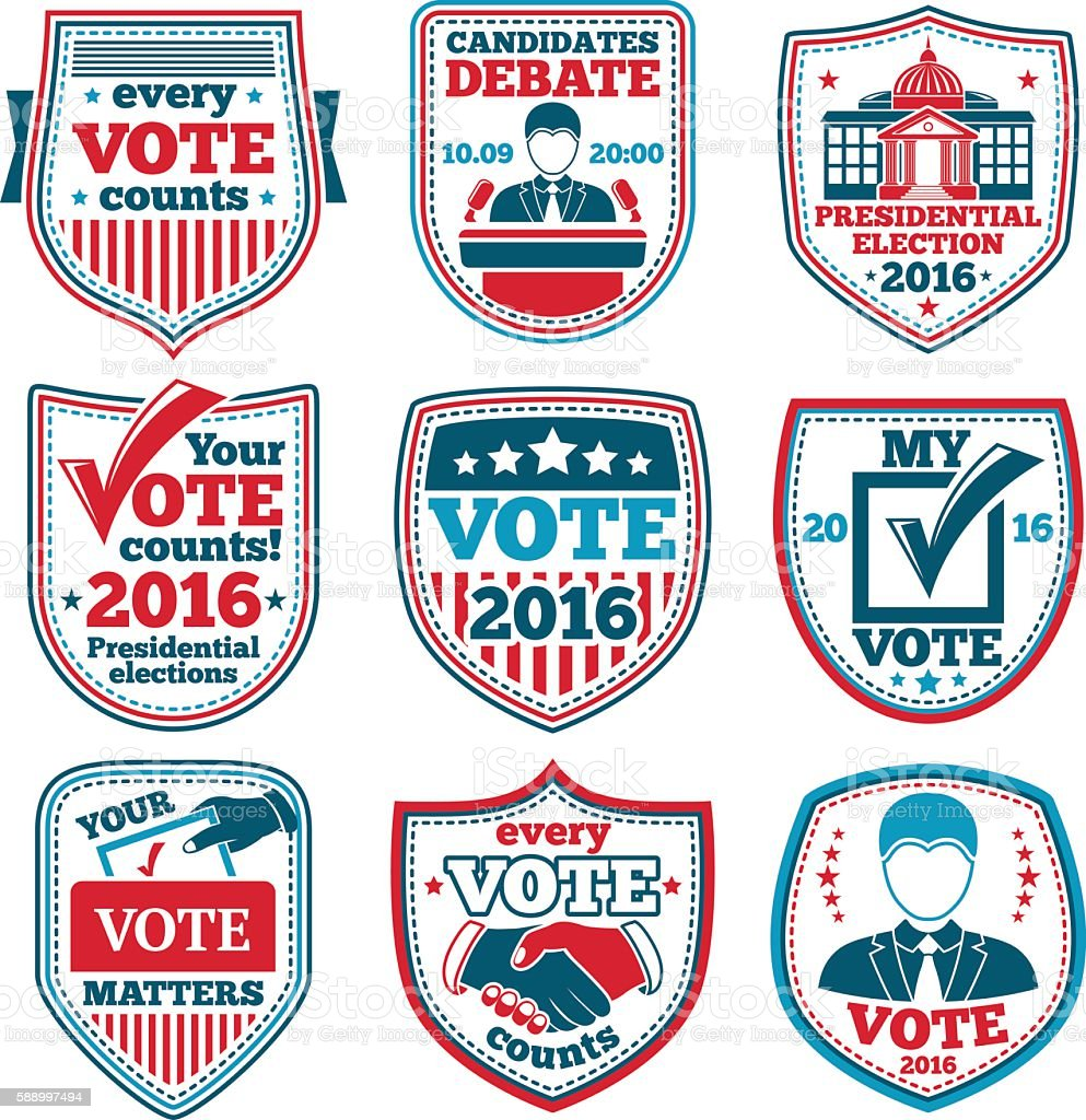 Vector set of Vote labels and badges for elections, debates vector art illustration