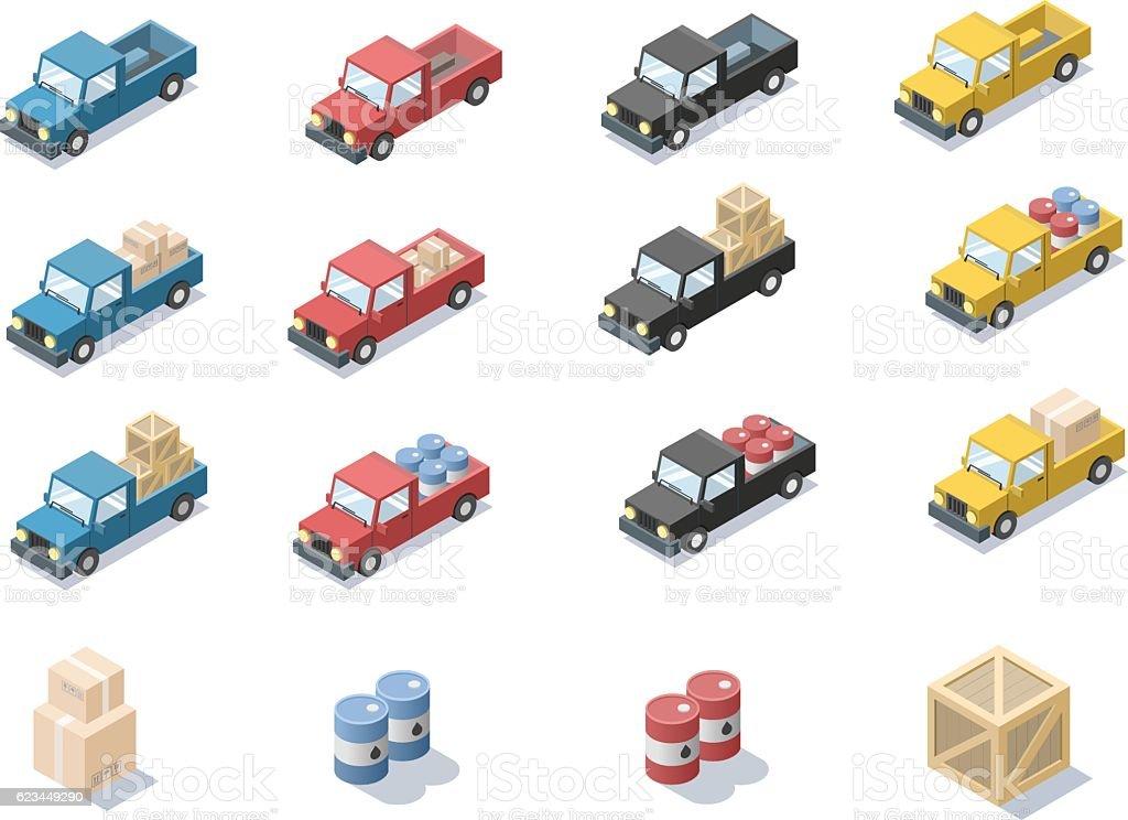 Vector set of wagon car with cargo, barrels, minivan. vector art illustration