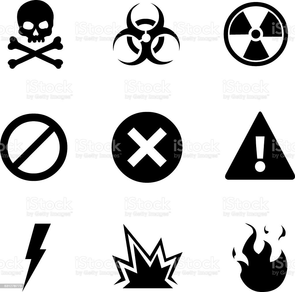 Vector Set of Warning Icons vector art illustration