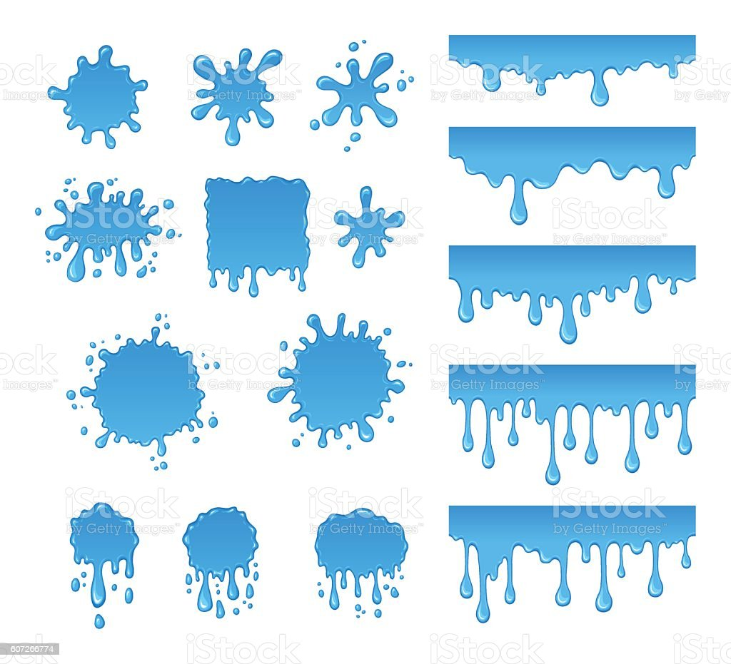 Vector set of water drops and blots. vector art illustration