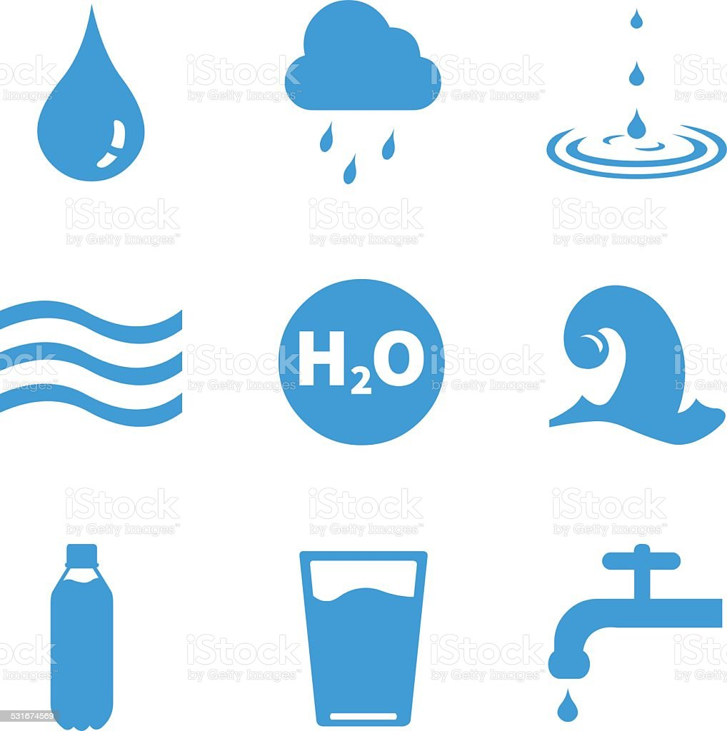 Vector Set of Water Icons vector art illustration
