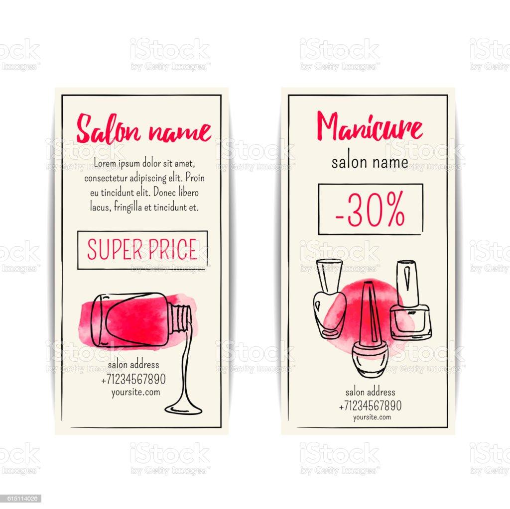 vector set of watercolor nail polish flyers for beauty salon stock vector set of watercolor nail polish flyers for beauty salon royalty stock vector art