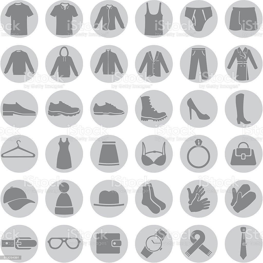 Vector Set of Wear Icons vector art illustration
