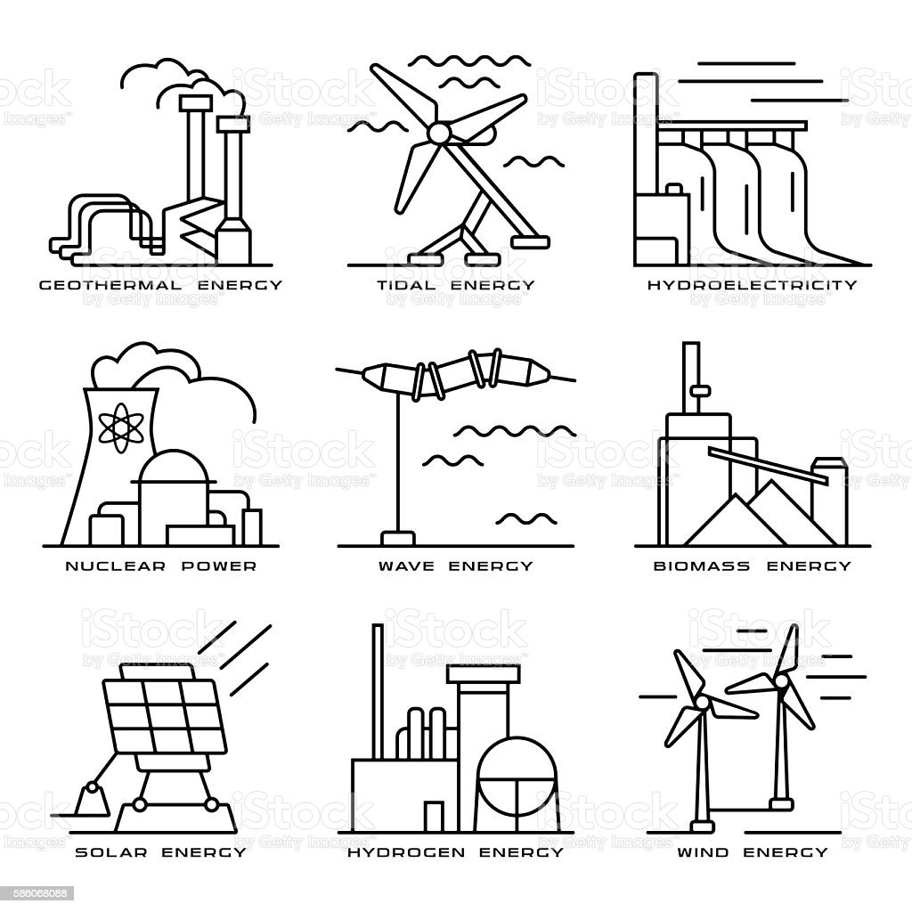 Vector set of web icons on electricity generation plants vector art illustration