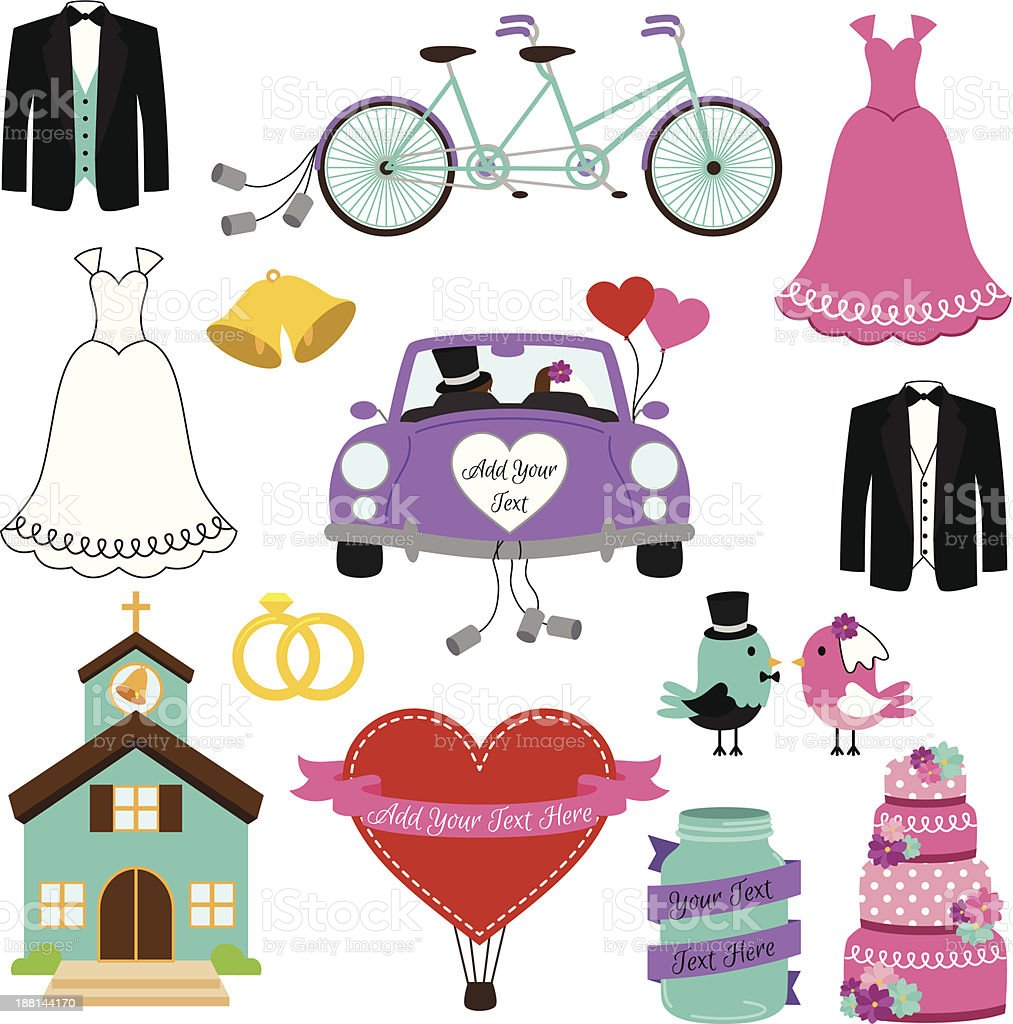 Vector Set of Wedding and Bridal Themed Images vector art illustration