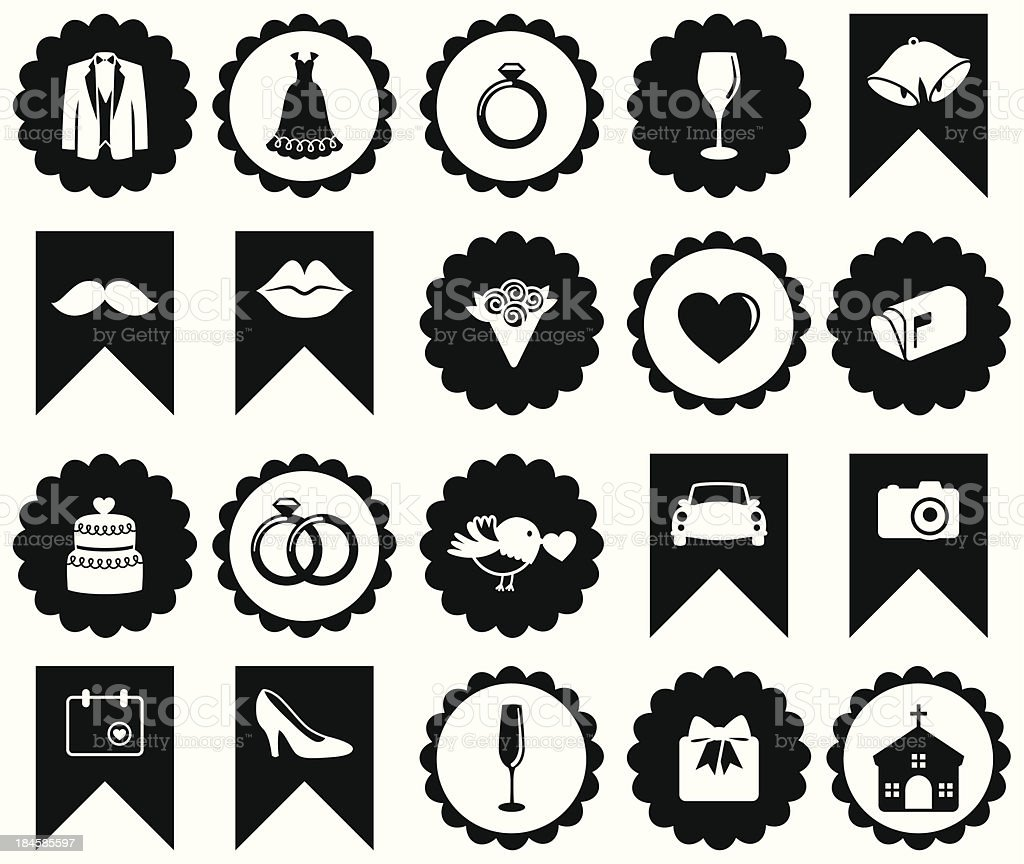 Vector Set of Wedding or Valentine's Day Icons and Badges royalty-free stock vector art
