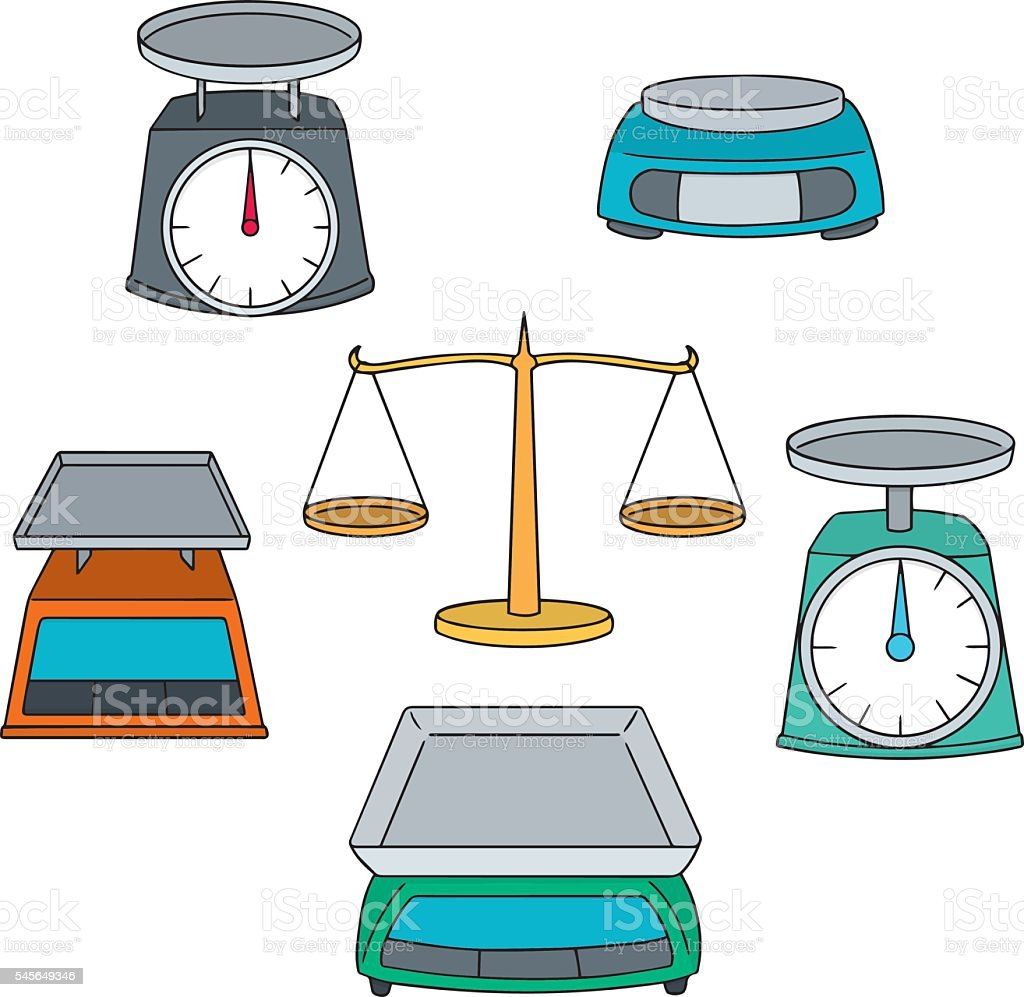vector set of weighing machine vector art illustration