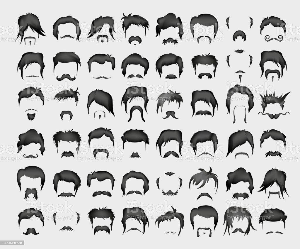 vector set of whiskers and hairstyles vector art illustration