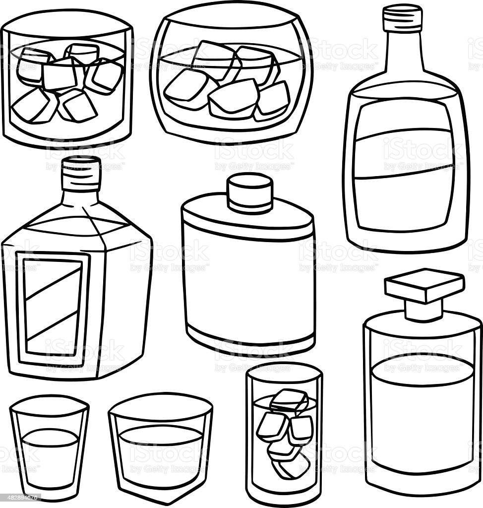 vector set of whiskey vector art illustration