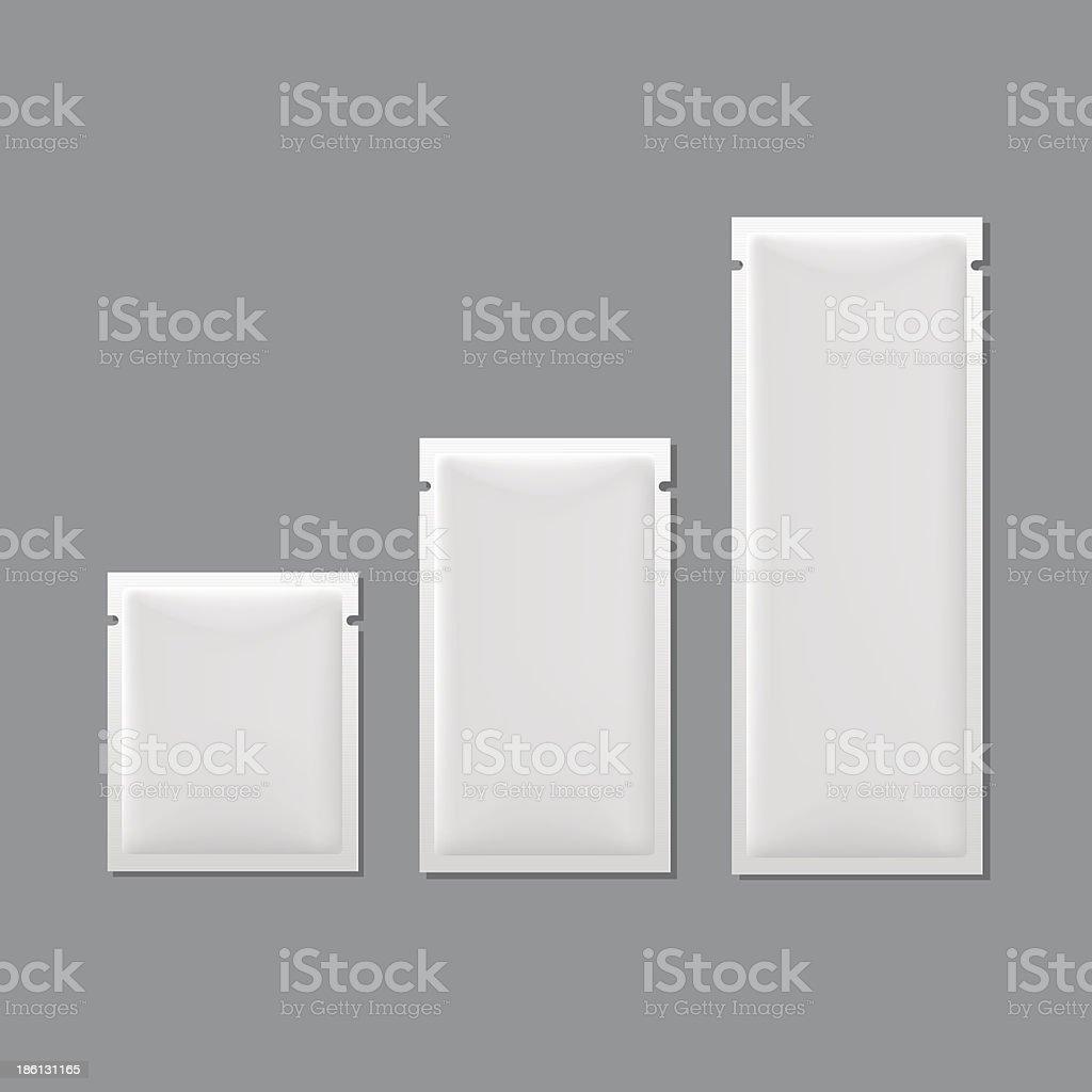 Vector Set of White Blank Sachet Packaging royalty-free stock vector art
