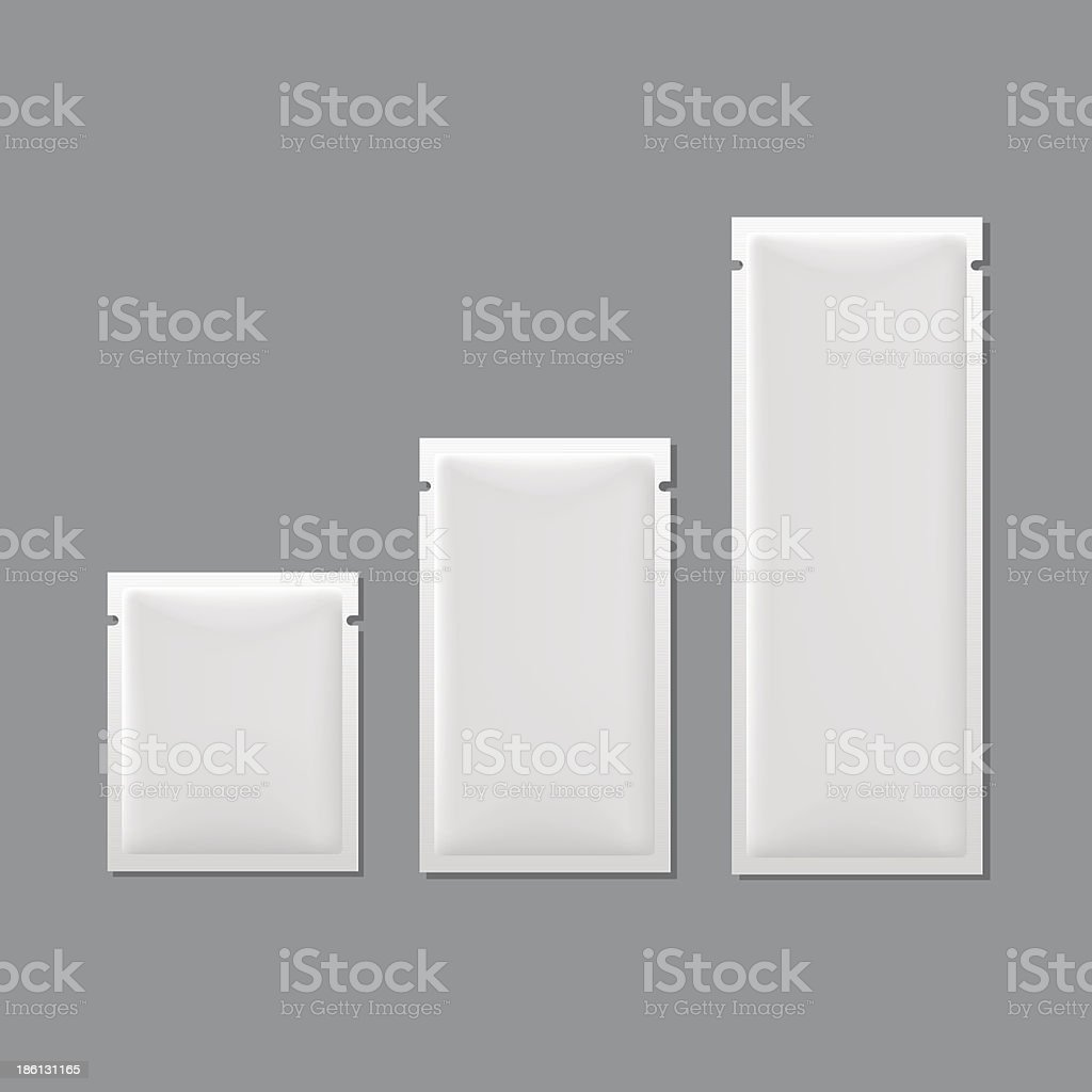 Vector Set of White Blank Sachet Packaging vector art illustration