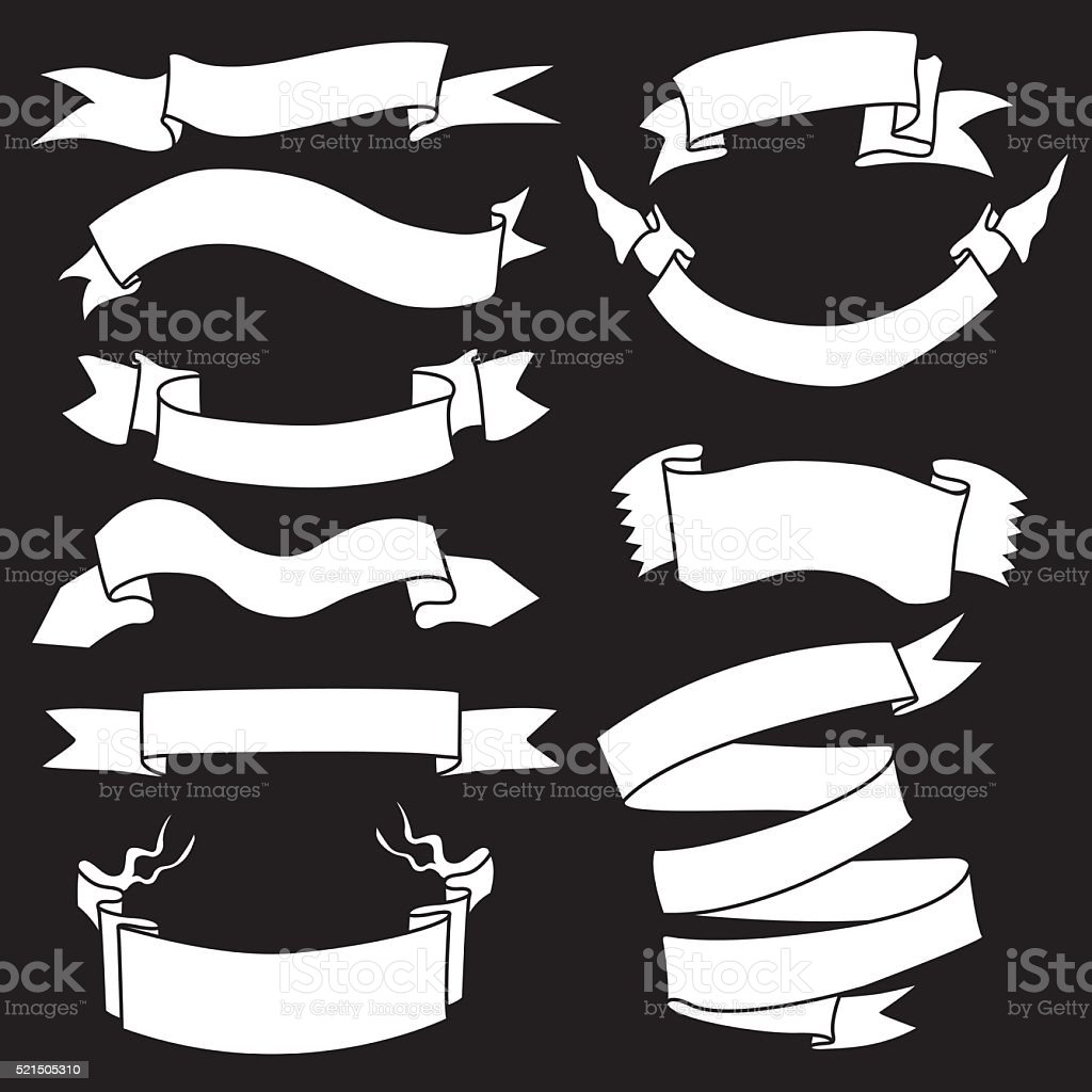 Vector Set of White Ribbons for Your Text vector art illustration