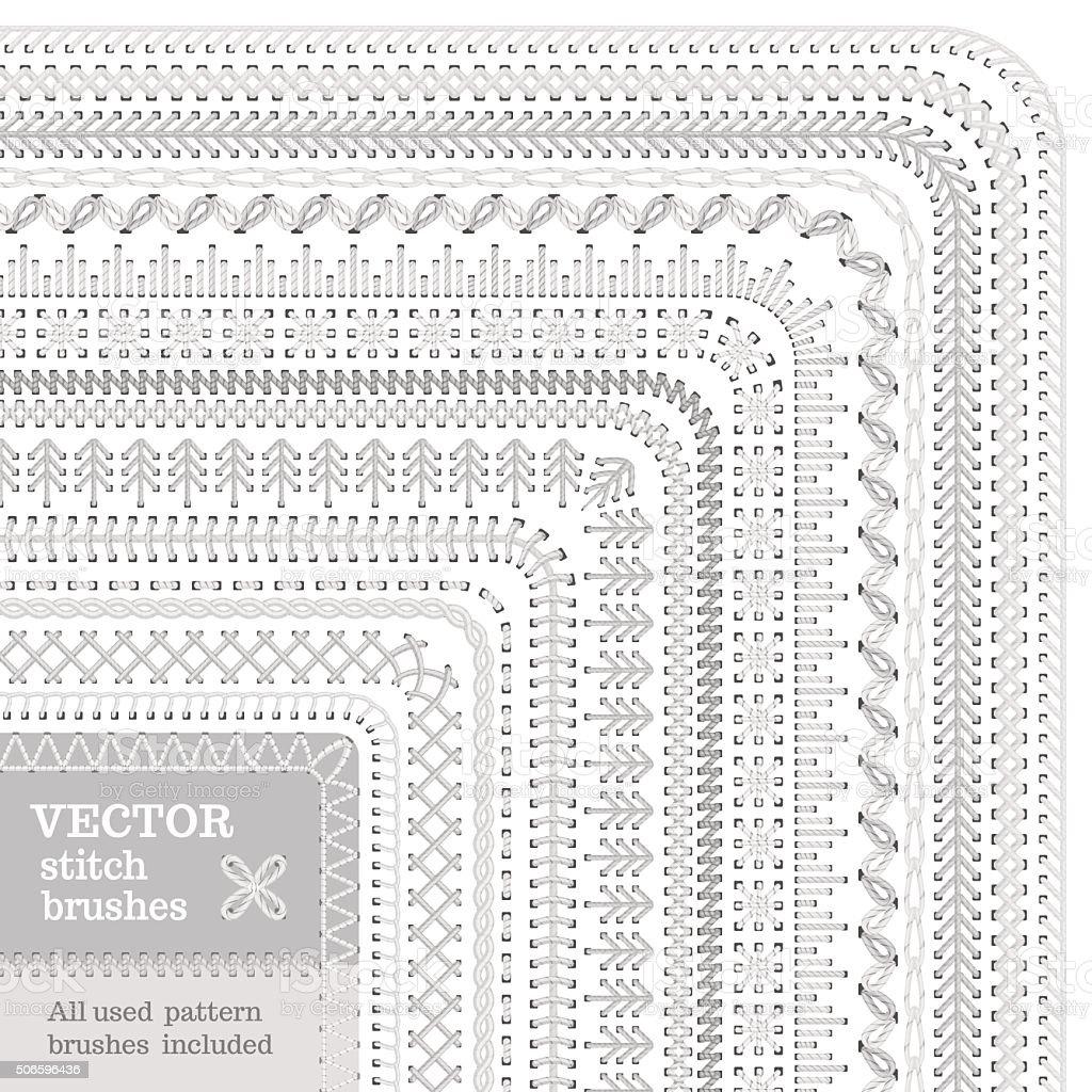 Vector set of white stitch brushes. vector art illustration