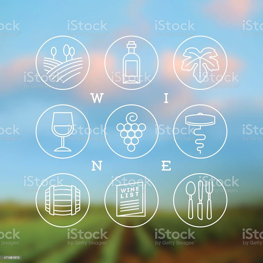 Vector set of wine and winemaking icons and emblems vector art illustration