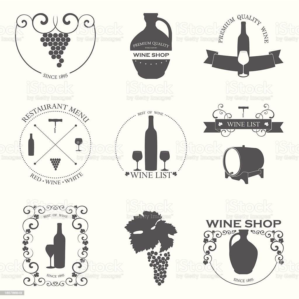 Vector set of Wine Labels with graphic design. vector art illustration