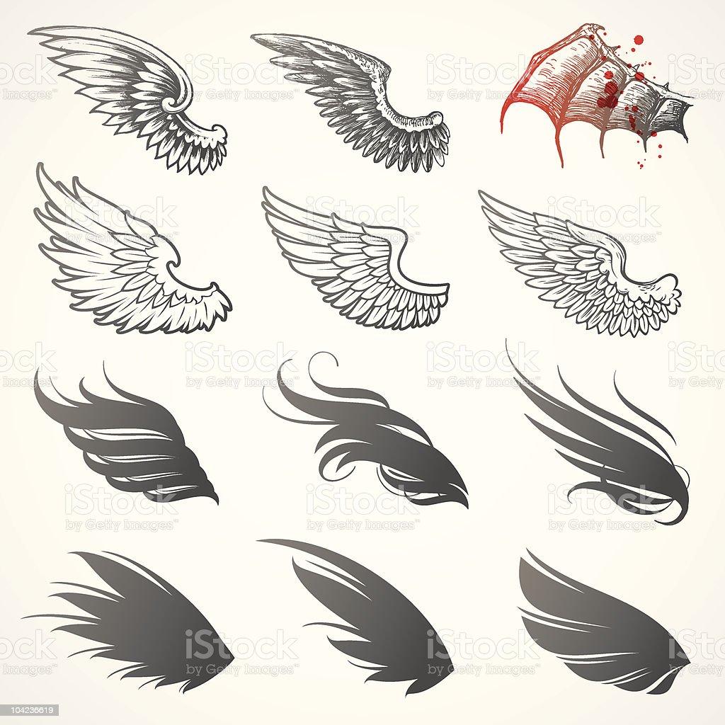 Vector set of wings vector art illustration