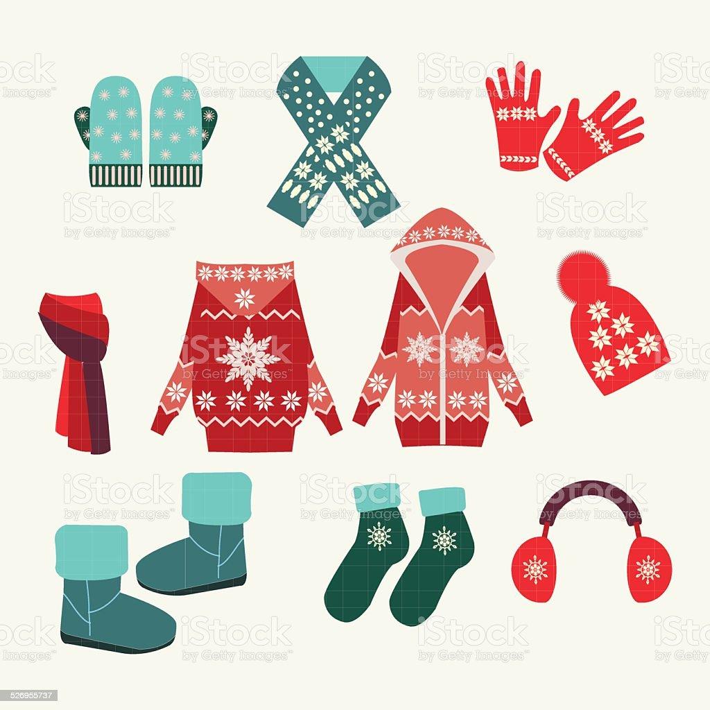 vector set of winter clothing-illustration vector art illustration