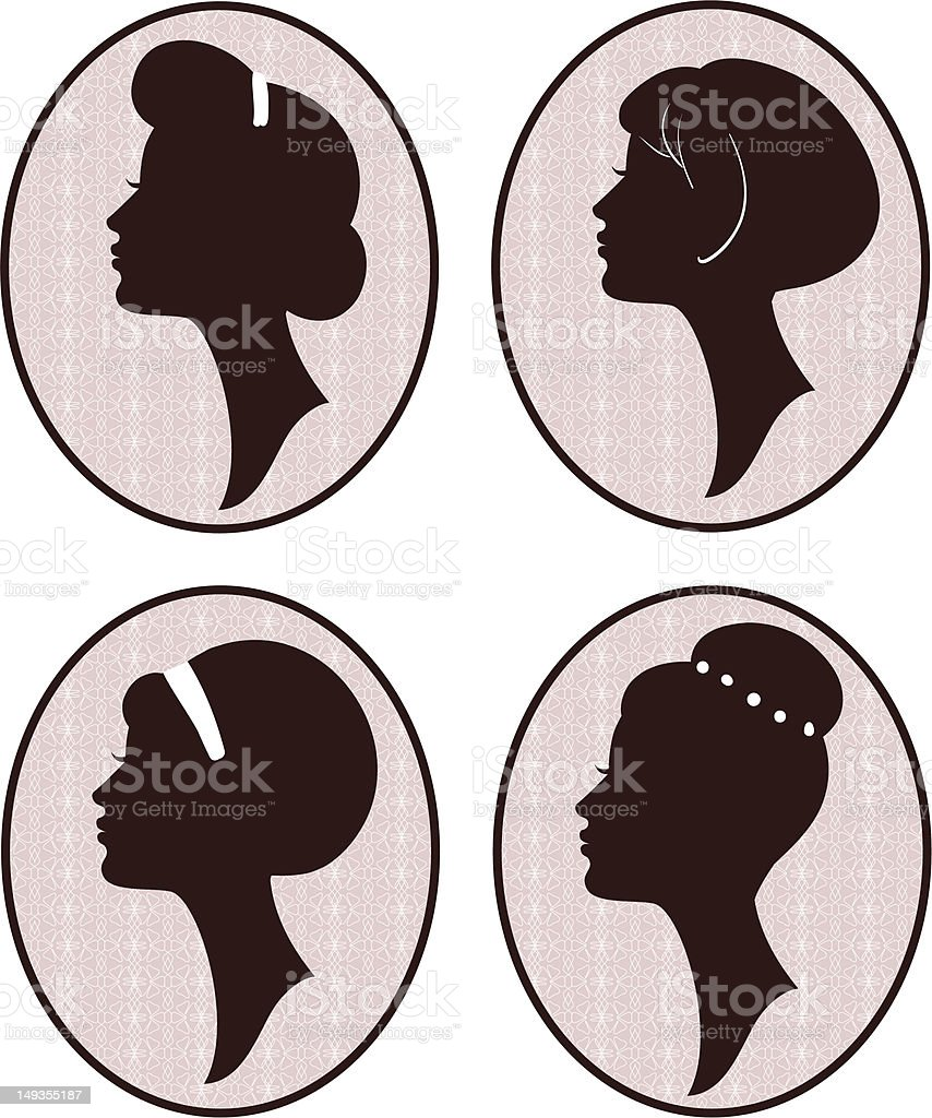 Vector set of woman silhouettes with retro hairstyles royalty-free stock vector art