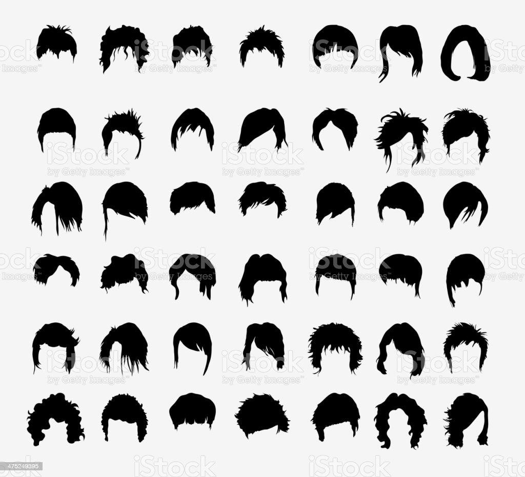 vector set of women's hairstyles vector art illustration