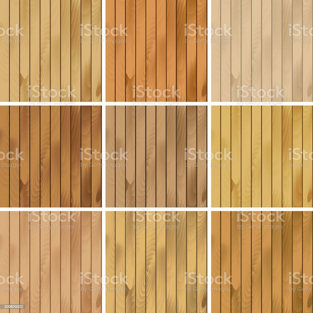 Vector Set of Wooden Seamless Textures Patterns Backgrounds vector art illustration
