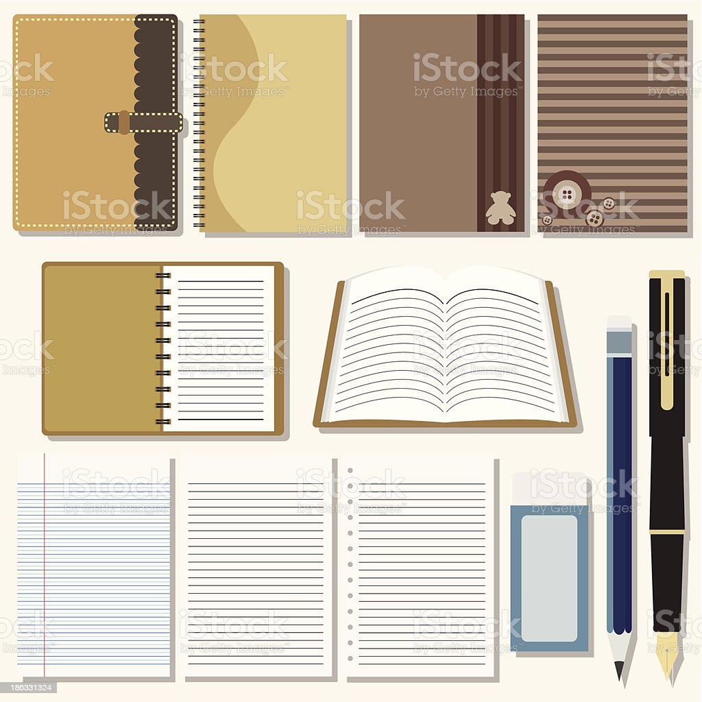 Vector set of writing and painting tools royalty-free stock vector art