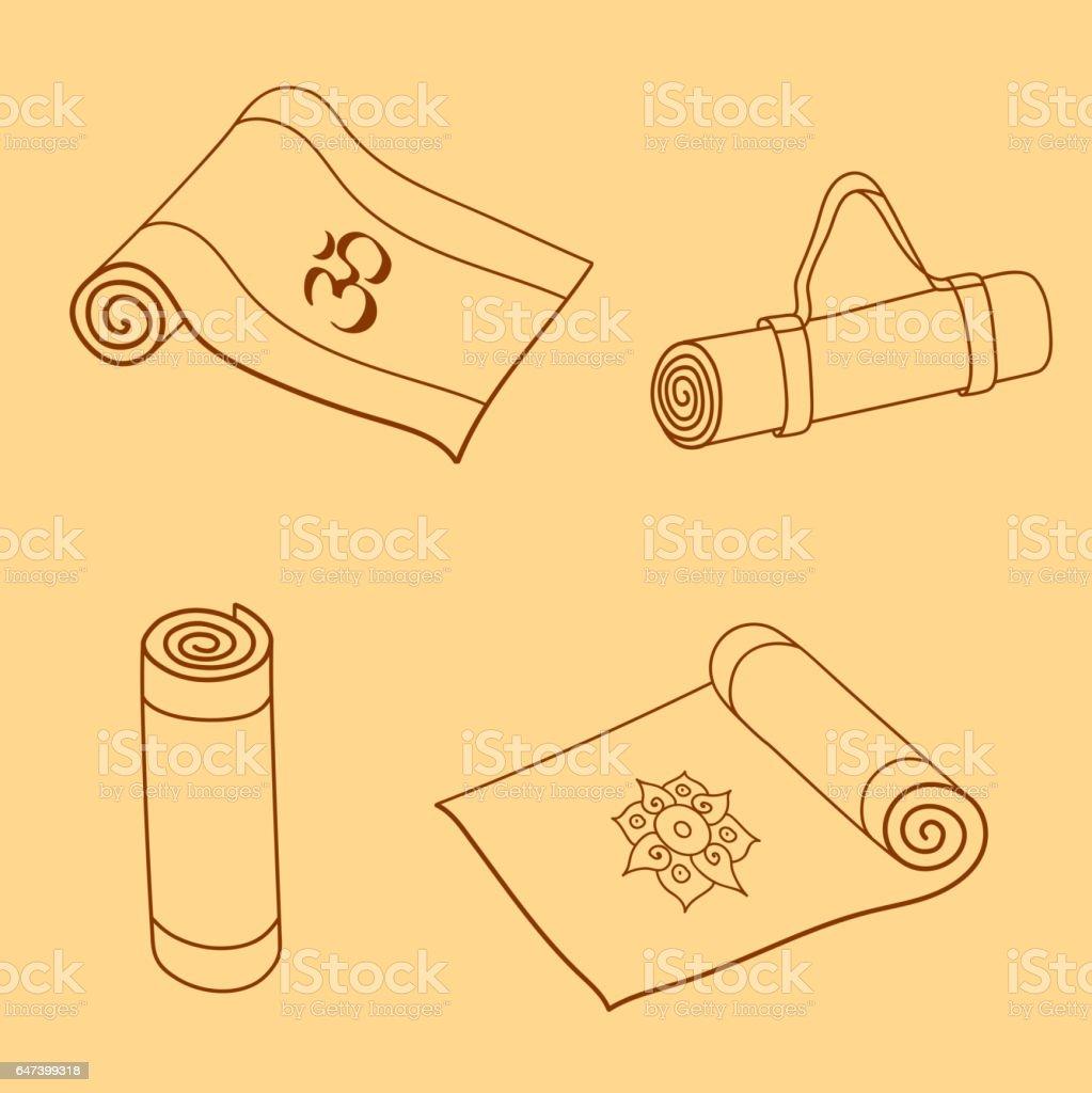 Vector set of yoga mat doodles vector art illustration