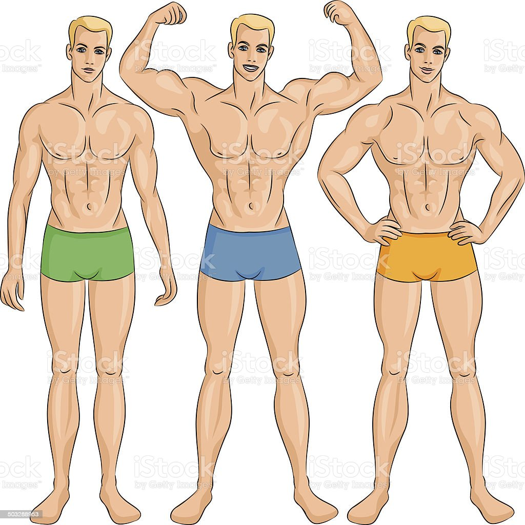 vector set of young athletic guys in shorts vector art illustration