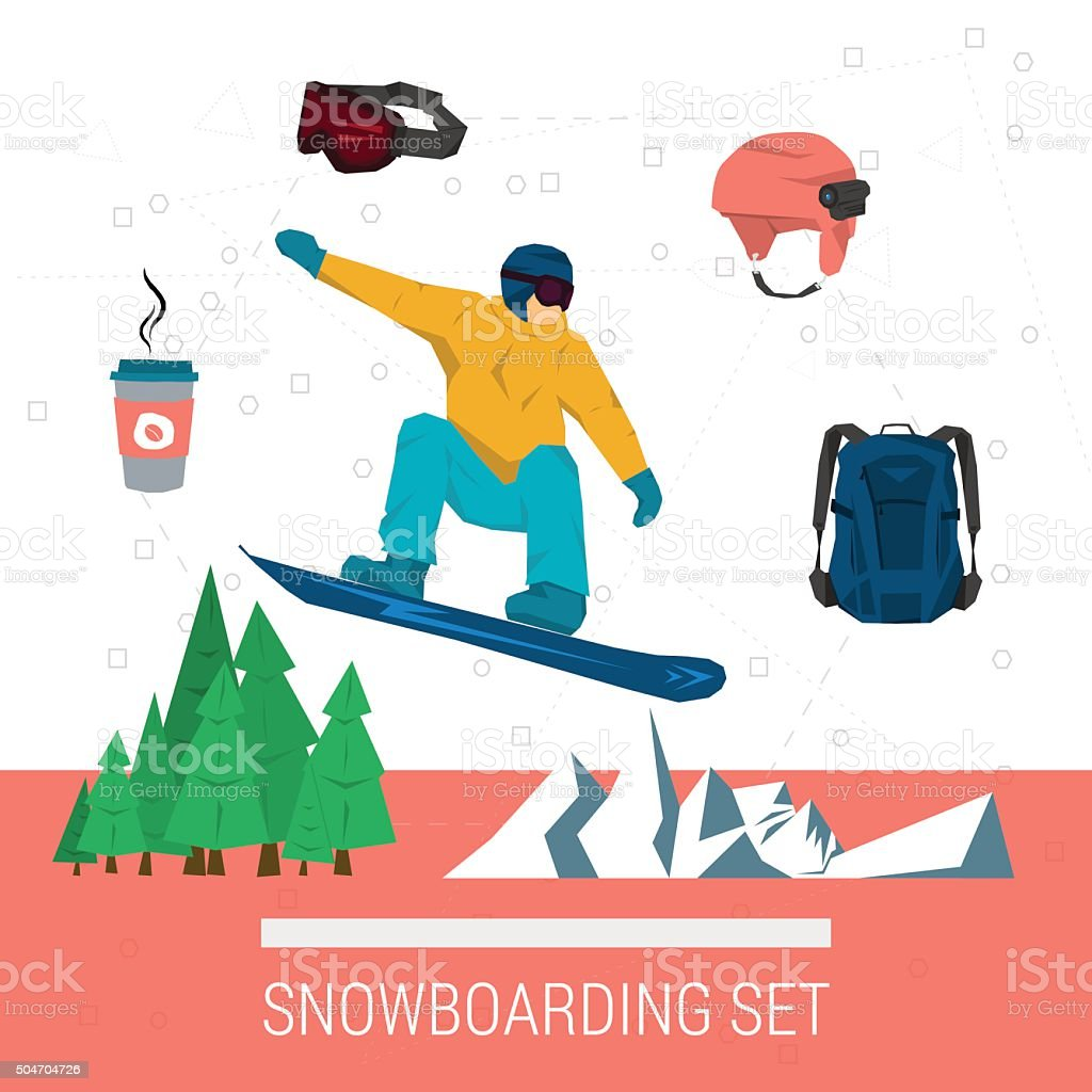 Vector set snowboarding sport vector art illustration
