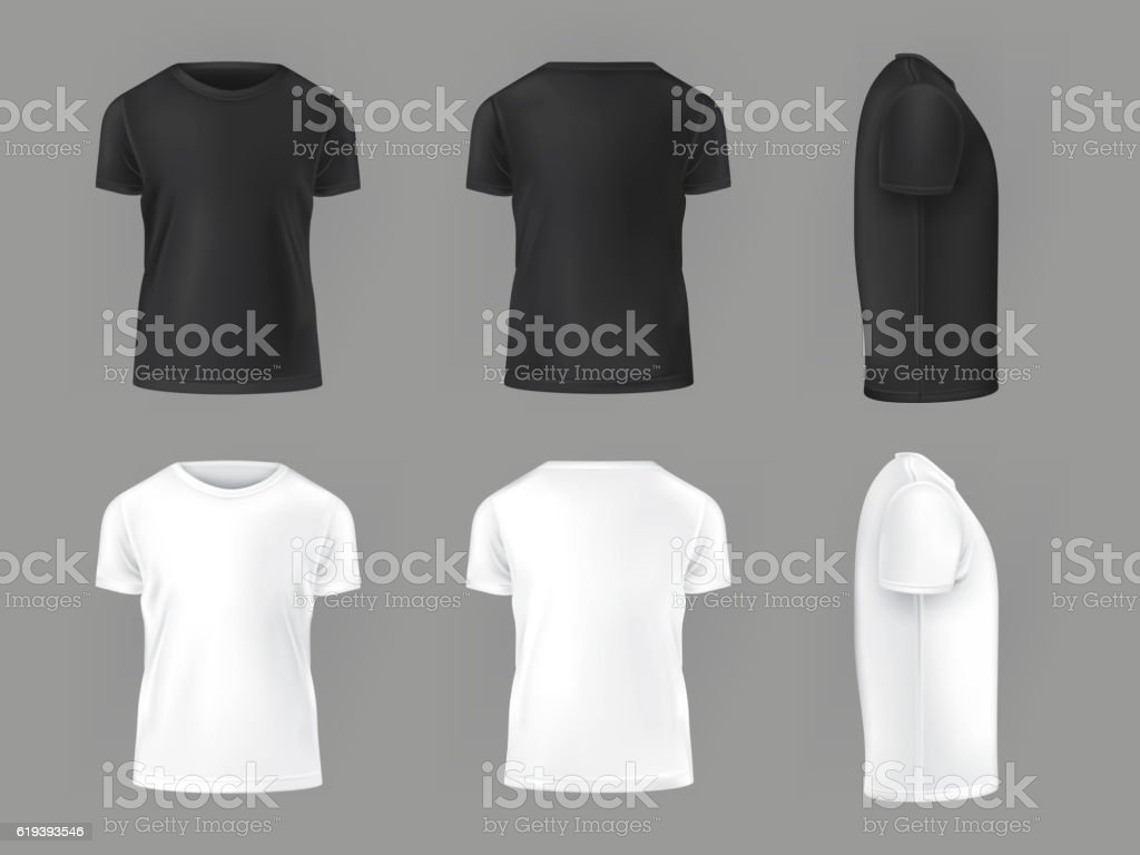 Vector set template of male T-shirts vector art illustration