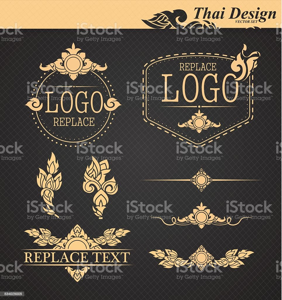 vector set: thai art design elements vector art illustration
