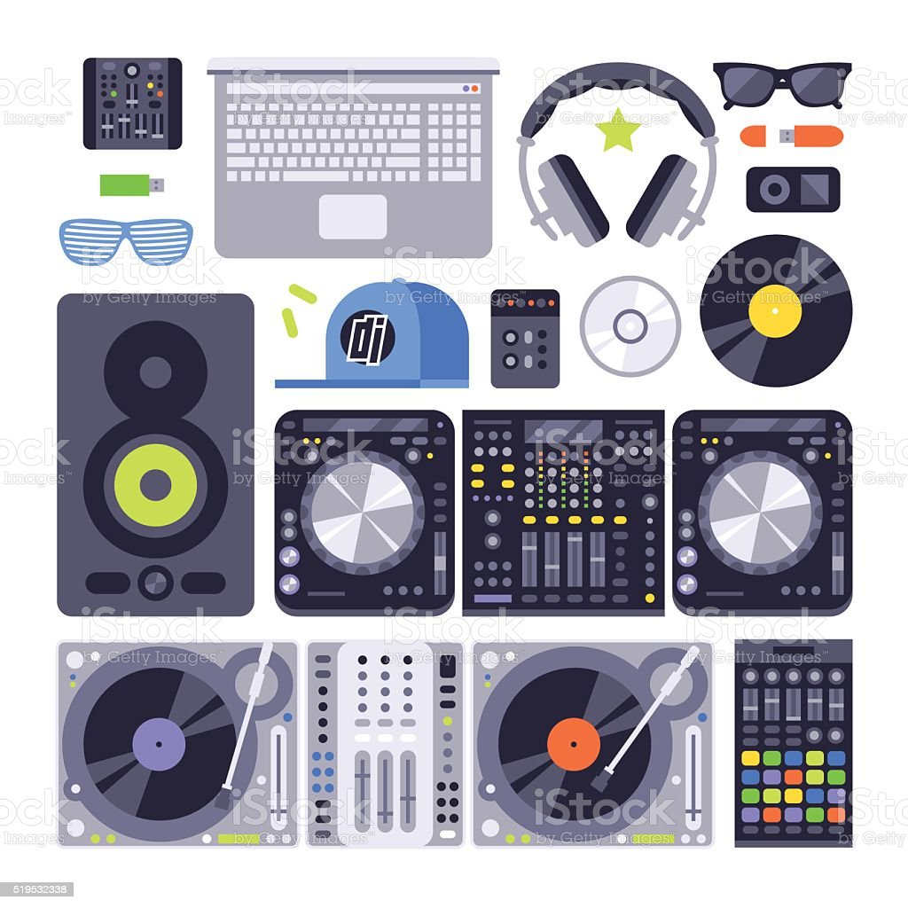 Vector set various stylized dj music equipment icon nightclub mixing vector art illustration