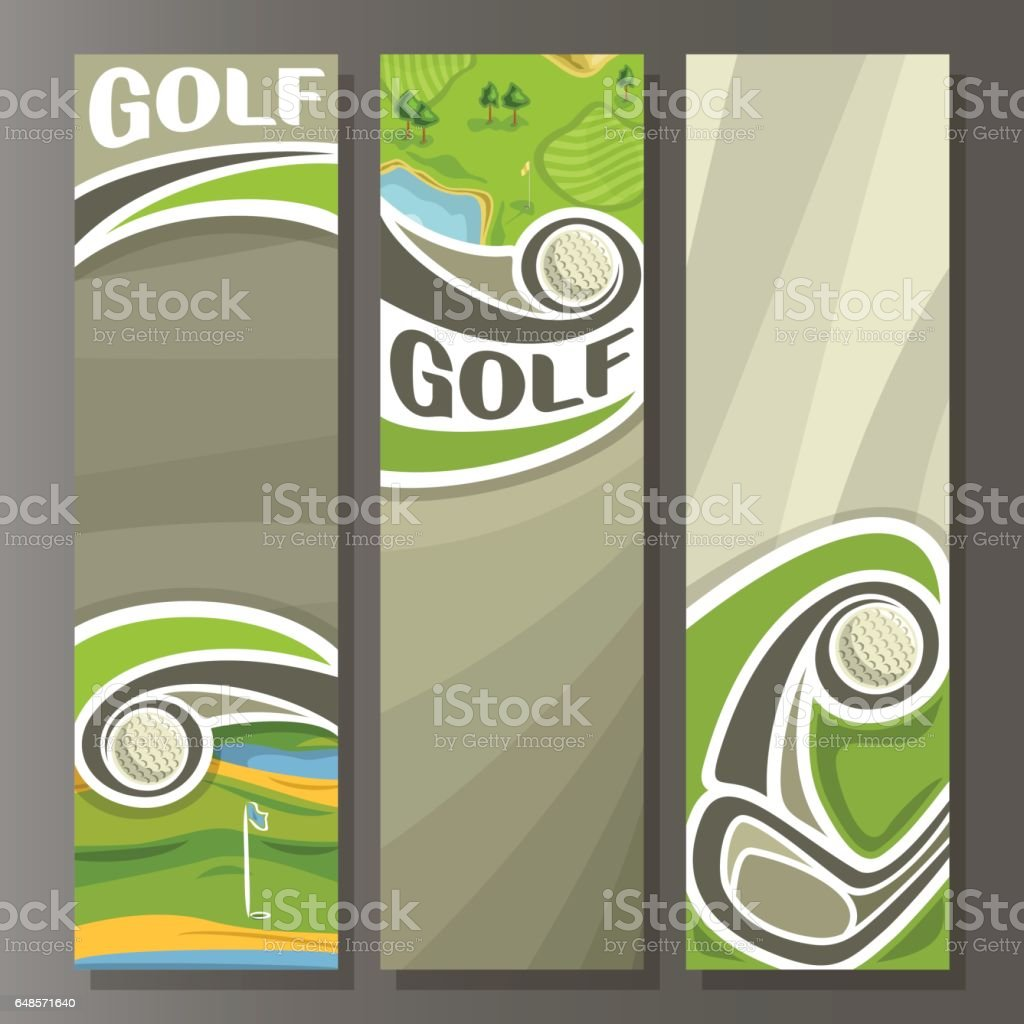 Vector set Vertical Banners for Golf Course vector art illustration