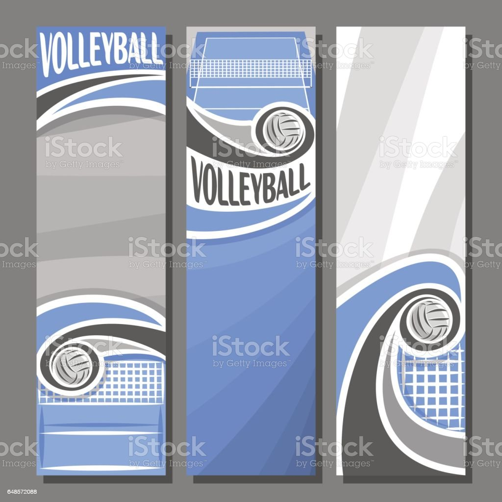 Vector set Vertical Banners for Volleyball vector art illustration
