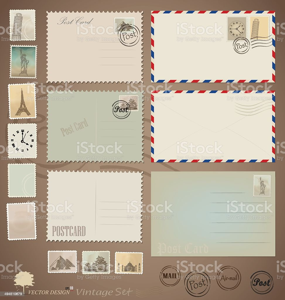 Vector set: Vintage postcard designs, envelopes and stamps. vector art illustration