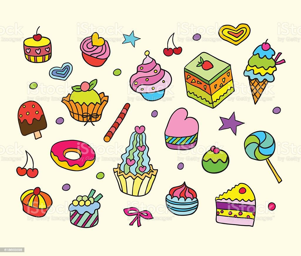 Vector set with bake and sweets. vector art illustration