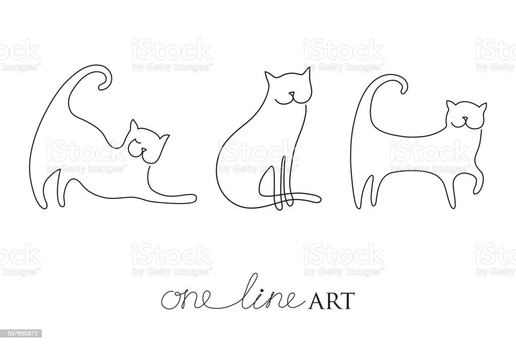 Vector set with cat silhouette in black isolated on white. vector art illustration