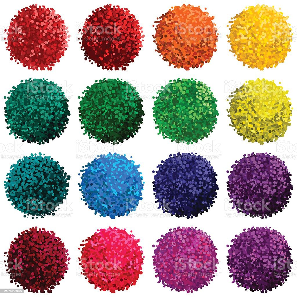 Vector set with colorful pompon vector art illustration